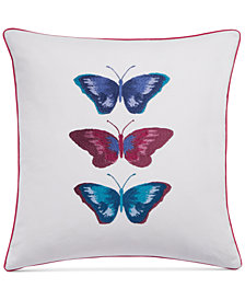 "bluebellgray Embroidered Butterflies White 16"" Square Decorative Pillow"