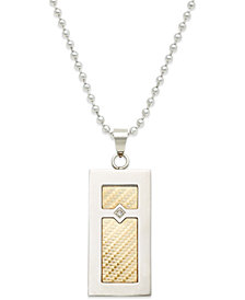 Men's Diamond Accent Inlay Pendant Necklace in 18k Gold and Stainless Steel