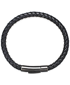 Men's Black Leather Bangle Bracelet in Stainless Steel