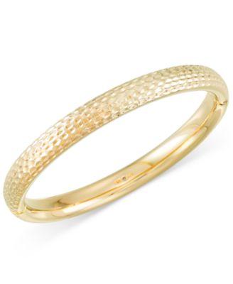 Signature Gold Textured Bangle Bracelet in 14k Gold over Resin