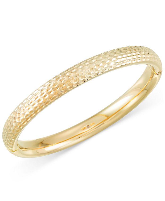 Italian Gold - Textured Bangle Bracelet in 14k Gold