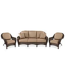 Monterey Outdoor Wicker 3-Pc. Seating Set with Sunbrella® Cushions  (1 Sofa & 2 Club Chairs)- with Custom Sunbrella®,  Created for Macy's