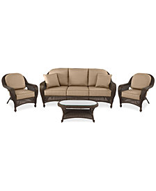 Monterey Outdoor Wicker 4-Pc. Seating Set (1 Sofa, 2 Club Chairs & 1 Coffee Table) with Custom Sunbrella®,  Created for Macy's