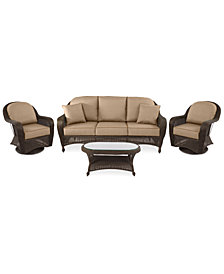 Monterey Outdoor Wicker 4-Pc. Seating Set (1 Sofa, 2 Swivel Chairs & 1 Coffee Table) with Custom Sunbrella®,  Created for Macy's
