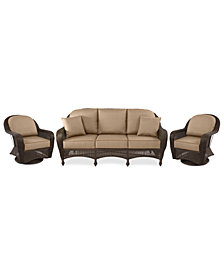 Monterey Outdoor Wicker 3-Pc. Seating Set (1 Sofa & 2 Swivel Chairs)- with Custom Sunbrella®, Created for Macy's