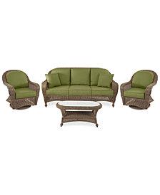 Sandy Cove Outdoor Wicker 4-Pc. Seating Set (1 Sofa, 2 Swivel Gliders and 1 Coffee Table) Custom Sunbrella®, Created for Macy's