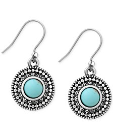Silver-Tone Reconstituted Turquoise Drop Earrings