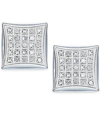 Men's Diamond Earrings In Stainless Steel (1/4 Ct. T.W.) by General