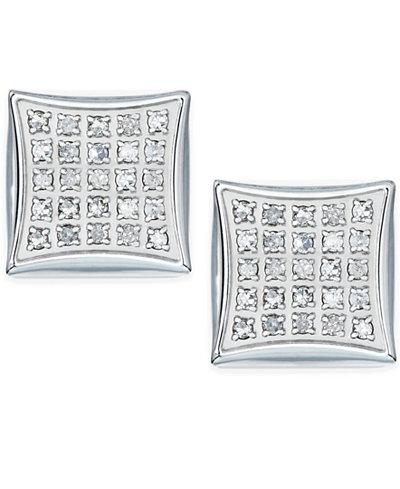 Men S Diamond Earrings In Stainless Steel 1 4 Ct T W