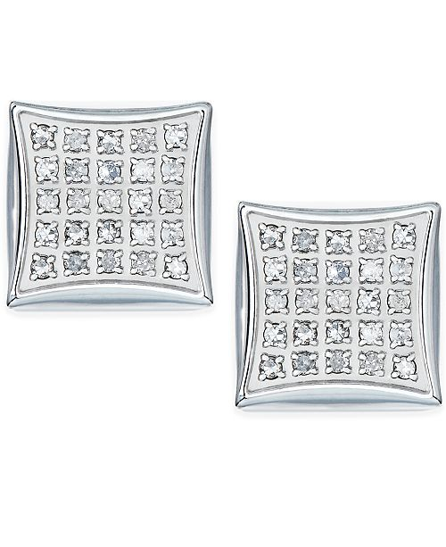 Macy's Men's Diamond Earrings in Stainless Steel (1/4 ct. t.w.)