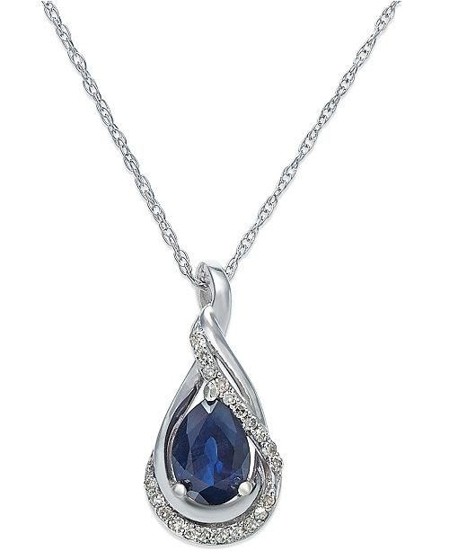 "Macy's Sapphire (9/10 ct. t.w.) and Diamond Accent Pendant 18"" Necklace in 14k White Gold(Also Available in Emerald)"