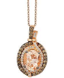 Le Vian Chocolatier Vanilla Diamonds (1/8 c.t. t.w.), Chocolate Diamonds (1/3 c.t. t.w.) and  Peach Morganite (1-1/4 ct t.w.) Pendant in 14k Strawberry Rose Gold, Created for Macy's