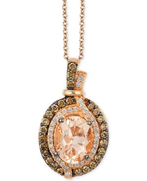 Le Vian Chocolatier Vanilla Diamonds (1/8 c.t. t.w.), Chocolate Diamonds (1/3 c.t. t.w.) and Peach Morganite (1-1/4 ct t.w.) Pendant in 14k Strawberry Rose Gold, Created for Macy's
