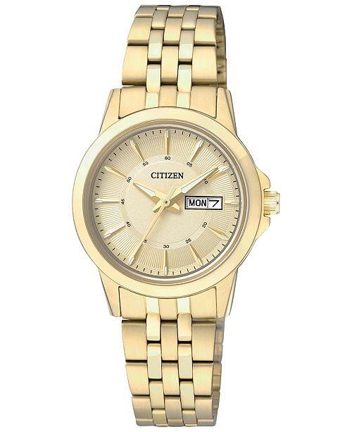 Citizen Women's Gold-Tone Stainless Steel Bracelet Watch 27mm EQ0603-59P