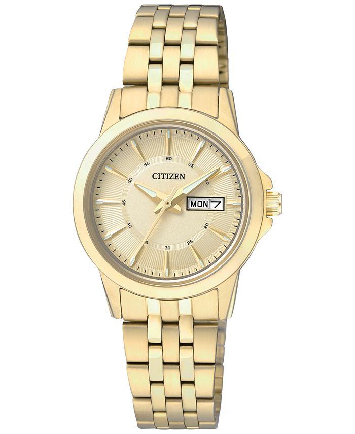 Citizen - Women's Gold-Tone Stainless Steel Bracelet Watch 27mm EQ0603-59P