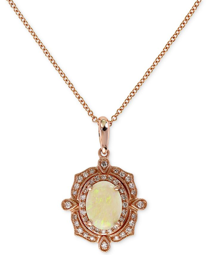 EFFY Collection - Opal (9/10 ct. t.w.) and Diamond (3/8 ct. t.w.) Pendant Necklace in 14k Rose Gold