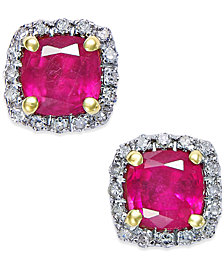 Ruby (1-1/2 ct. t.w.) and Diamond (1/10 ct. t.w.) Stud Earrings in 14k Gold