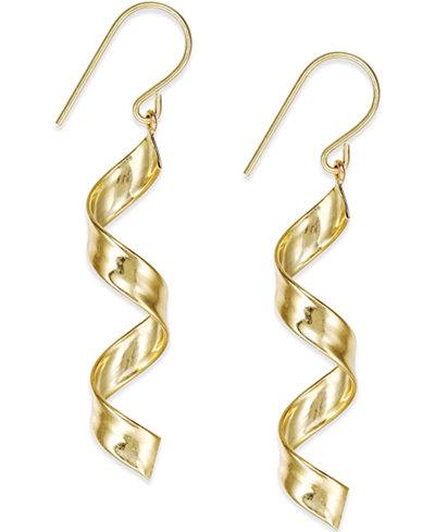 Swirl Drop Earrings in 10k Gold