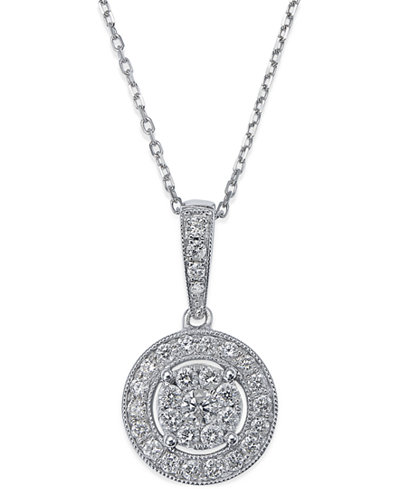 Diamond Circle Pendant Necklace in 14k White Gold (1/2 ct. t.w.)
