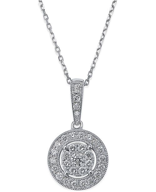 Diamond Circle Pendant Necklace in 14k White Gold (1/2 ct. t.w.)