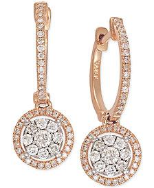 Diamond Circle Drop Earrings in 14k Rose Gold (5/8 ct. t.w.)