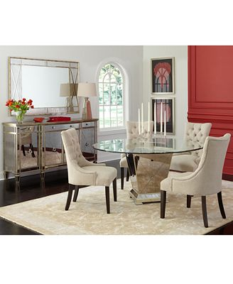 Furniture Marais Round Dining Room Furniture Collection Mirrored