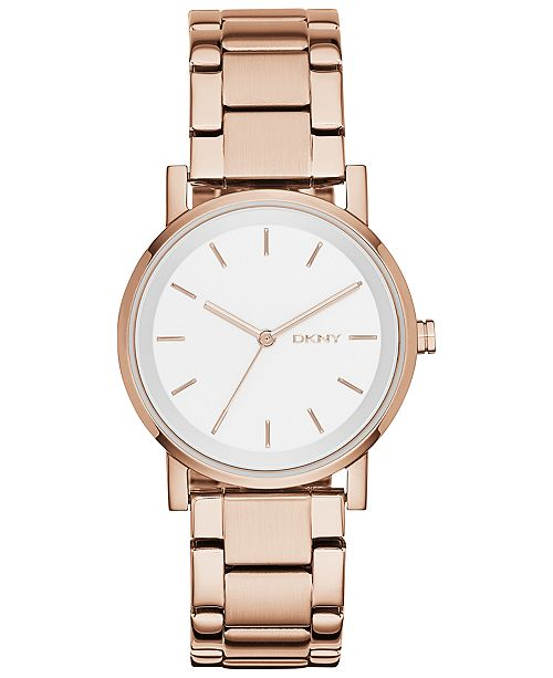 DKNY Women's Soho Rose Gold-Tone Stainless Steel Bracelet Watch 34mm, Created for Macy's