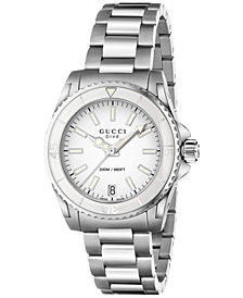 Gucci Unisex Swiss Dive Stainless Steel Bracelet Watch 32mm YA136402