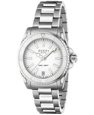 Gucci Unisex Swiss Dive Stainless Steel Bracelet Watch 32mm YA136402