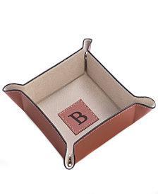 Bey-Berk Monogrammed Saddle Brown Leather Snap Valet