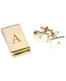 Bey-Berk Monogrammed Gold Plated Rectangular Design Cufflinks & Money Clip Gift Set