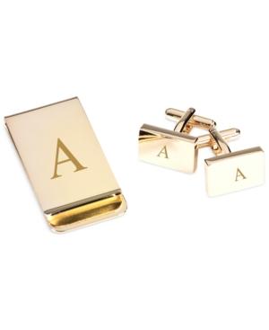 Bey-Berk Monogrammed Gold Plated Rectangular Design Cufflinks