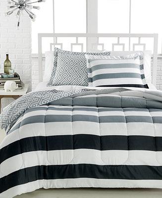 Closeout Modern Stripe 3 Pc Full Queen Comforter Set