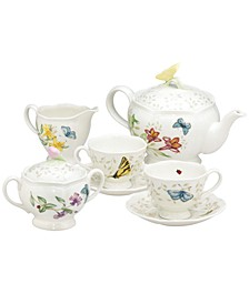 Butterfly Meadow 7-Piece Tea Set, Service for Two