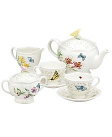 "Lenox ""Butterfly Meadow"" 7-Piece Tea Set, Service for Two"