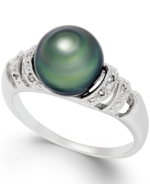 Tahitian Pearl and Diamond Accent Ring in Sterling Silver (9mm)