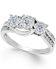 Diamond Three-Stone Ring in 14k White Gold (1/2 ct. t.w.)