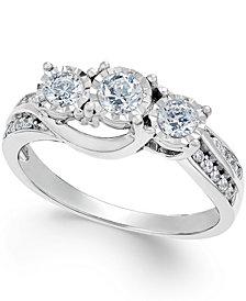 Diamond Three-Stone Ring in 14k White Gold (1/2 ct. t.w.)