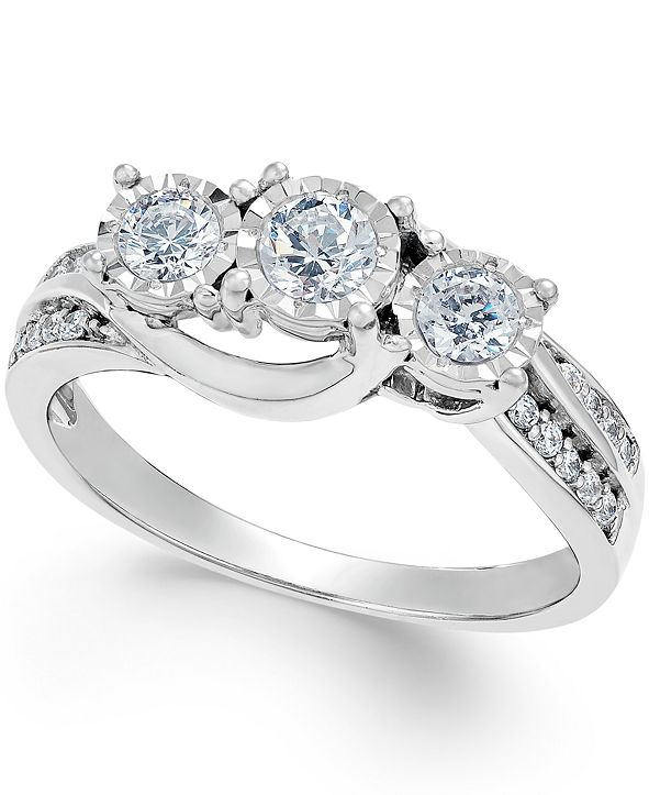 Macy's Diamond Three-Stone Ring in 14k White Gold (1/2 ct. t.w.)