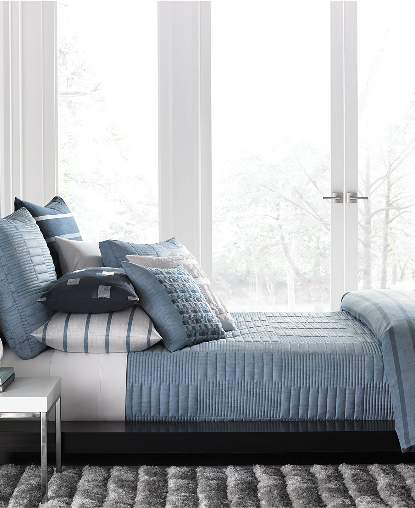hotel collection bedding collections  macy's - hotel collection colonnade blue coverlet collection created for macy's