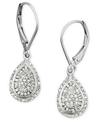 Wrapped in Love™ Diamond Teardrop Earrings in 14k White Gold 1 2