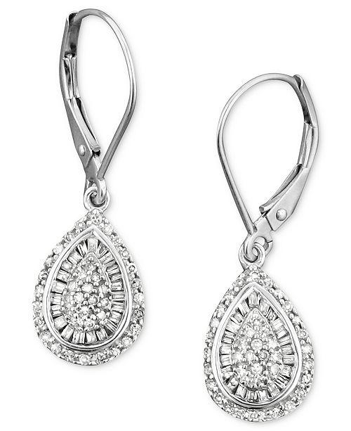 Diamond Teardrop Earrings In 14k White Gold 1 2 Ct T W Created For Macy S