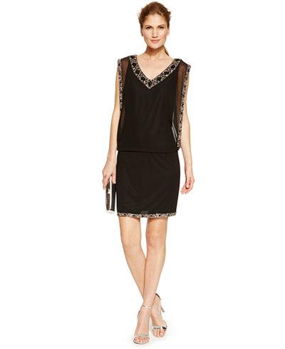 J Kara Embellished Sleeveless Blouson Dress Plus Size