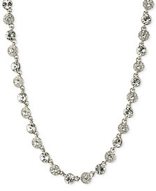 "Givenchy 16"" Silver-Tone Crystal Necklace"