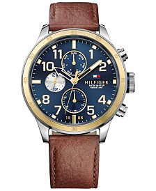 Tommy Hilfiger Men's Brown Leather Strap Watch 46mm