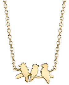Unwritten Bird Pendant Necklace in 14k Gold-Plated Sterling Silver