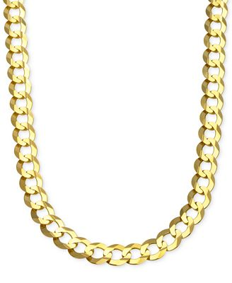 Cuban Chain Link Necklace in Solid 10k Gold Necklaces Jewelry