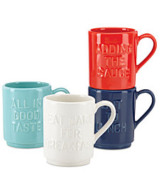 kate spade new york all in good taste Set of 4 Stoneware Mugs