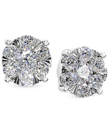EFFY Diamond Bouquet Stud Earrings (7/8 ct. t.w.) in 14k White Gold
