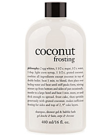 philosophy coconut frosting 3-in-1 shampoo, shower gel and bubble bath, 16 oz.